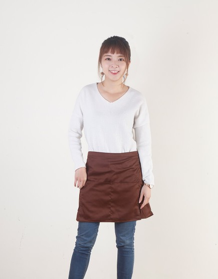 客製圍裙印製 | 混棉三口袋 | 半身式 | 咖啡色
