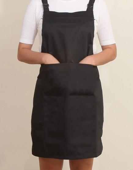 客製圍裙印製 | 混棉布背帶式二口袋圍裙+雙扣可調 | 黑色