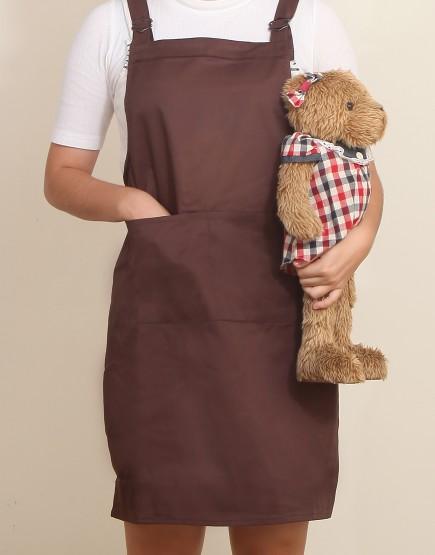 客製圍裙印製 | 混棉布背帶式二口袋圍裙+雙扣可調 | 咖啡色