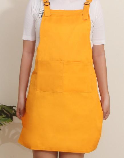 客製圍裙印製 | 混棉布背帶式二口袋圍裙+雙扣可調 | 橘色