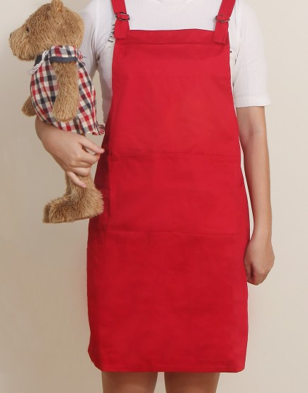 客製圍裙印製 | 混棉布背帶式二口袋圍裙+雙扣可調 | 紅色