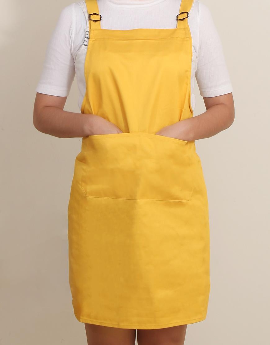 客製圍裙印製 | 混棉布背帶式二口袋圍裙+雙扣可調 | 黃色