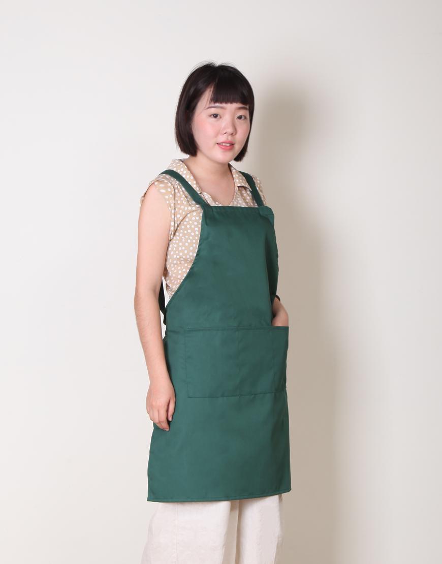 客製圍裙印製 | 混紡布三口袋 | 背帶式 | 墨綠色