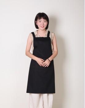 | 缺貨 | 純棉雙口袋背帶式圍裙 - 黑色