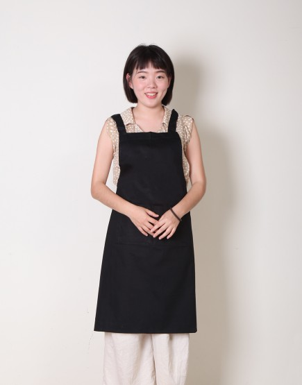 客製圍裙印製 | 純棉雙口袋 | 背帶式 | 黑色