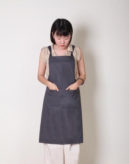 純棉背帶式三口袋圍裙 - 灰色