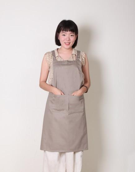 |缺貨| 純棉雙口袋背帶式圍裙 - 卡其色