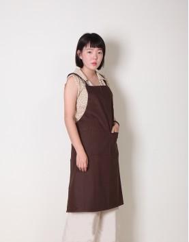 客製圍裙印製 | 純棉雙口袋 | 背帶式 | 咖啡色