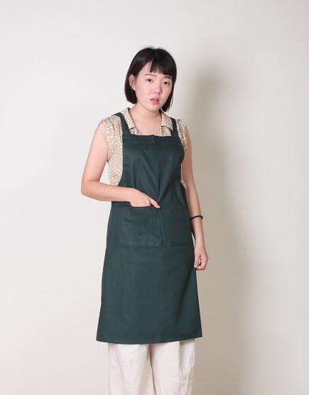 純棉雙口袋背帶式圍裙 - 墨綠色