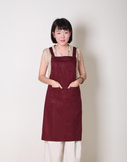 |缺貨| 純棉雙口袋背帶式圍裙 - 暗紅色
