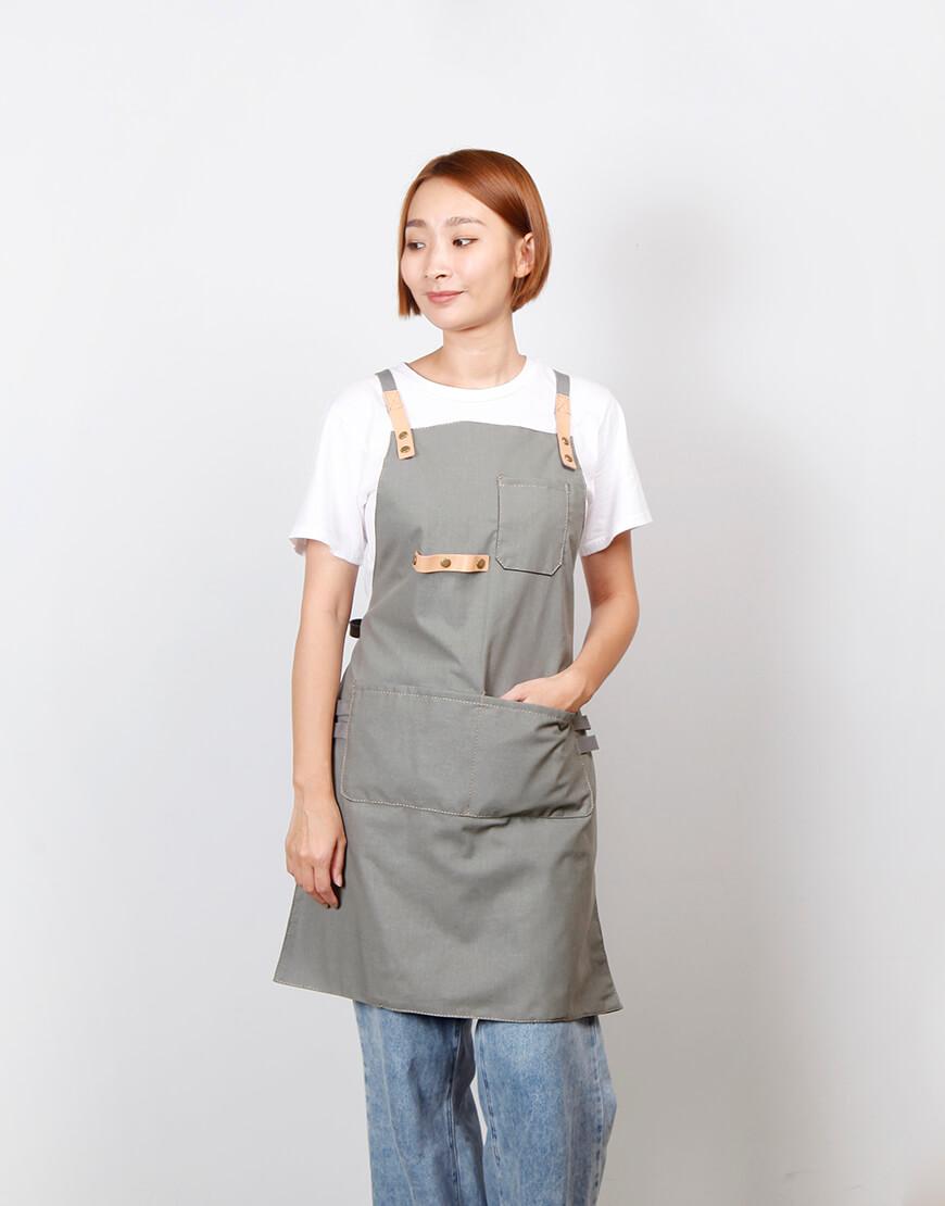 | 缺貨 | 客製圍裙印製 | 滌帆真皮交叉織帶圍裙 深灰雙層