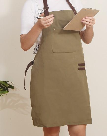 客製圍裙印製 | 滌帆綠色繞頸可調式圍裙 | 拼咖啡色