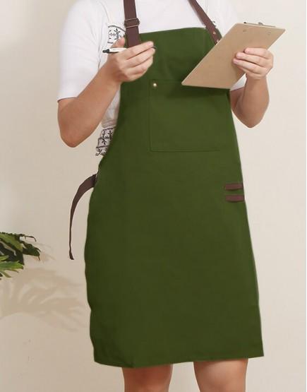 滌帆綠色繞頸可調式圍裙 - 拼咖啡色