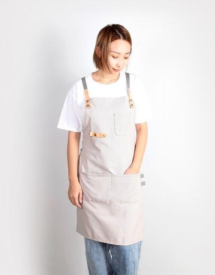滌帆真皮交叉織帶圍裙 - 3色