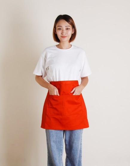 滌帆加厚斜紋雙口袋半身圍裙 - 9色