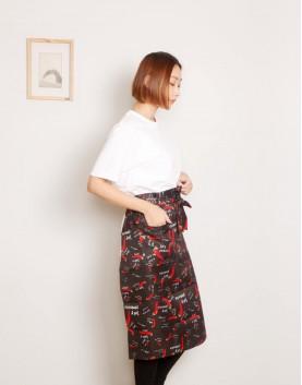 滌綸半身圍裙 單口袋 黑底紅辣椒款