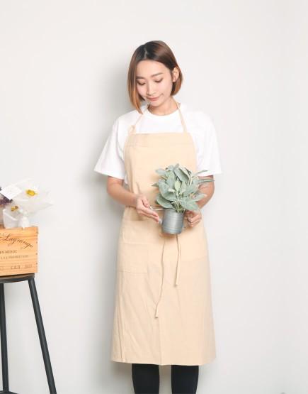 水洗棉日式棉綁繩圍裙 - 7色