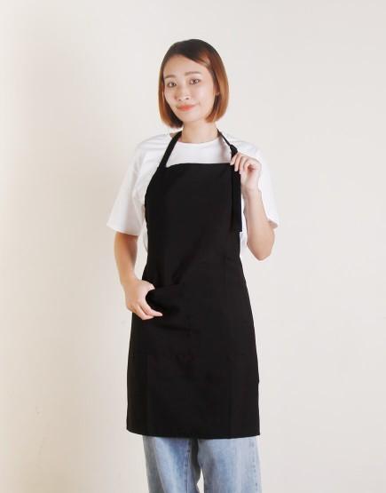 滌綸防水單扣繞頸式圍裙 - 黑色