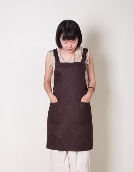 | 缺貨 | T/C斜紋布背帶式雙口袋圍裙 - 咖啡色
