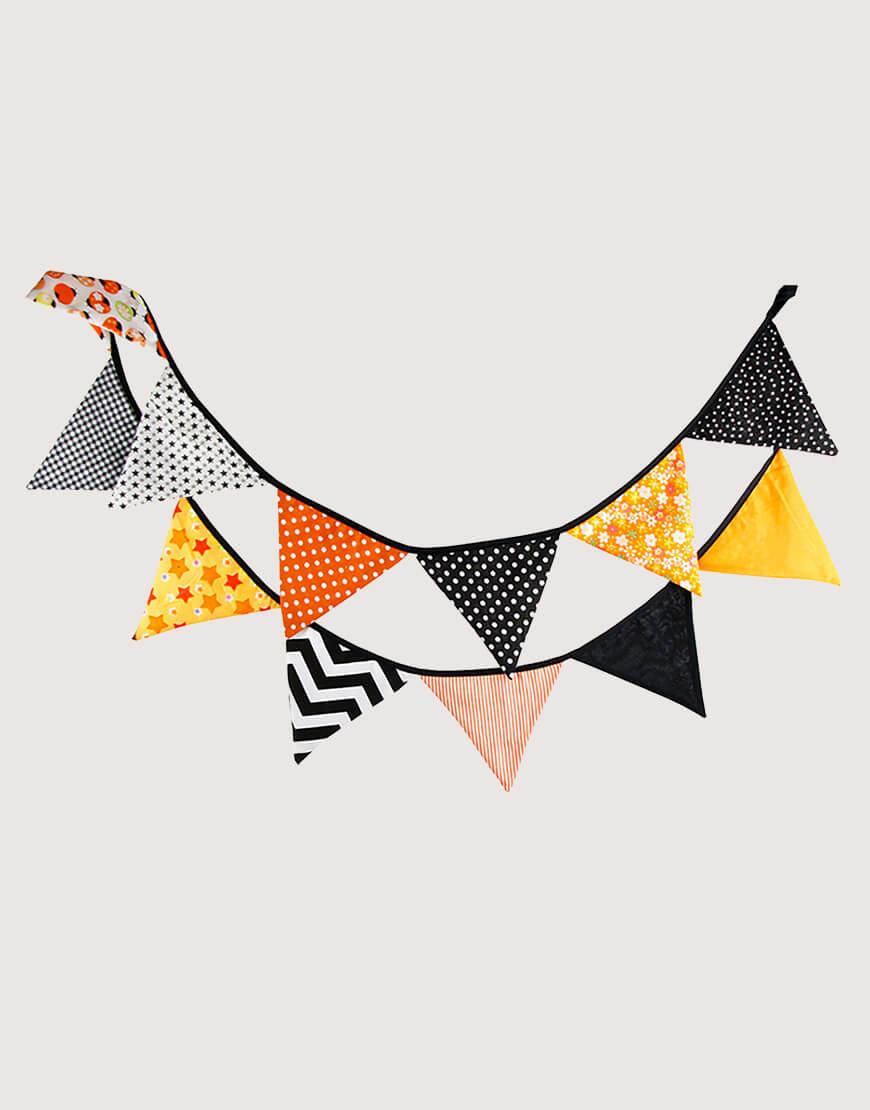 棉布   橘黑   三角旗