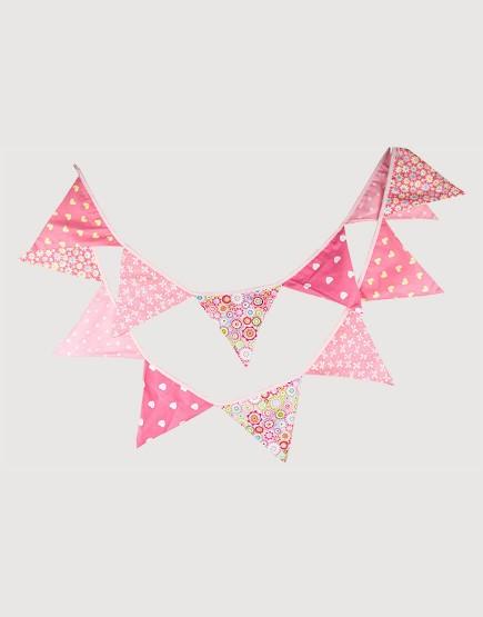 棉布 | 粉紅花花 | 三角旗