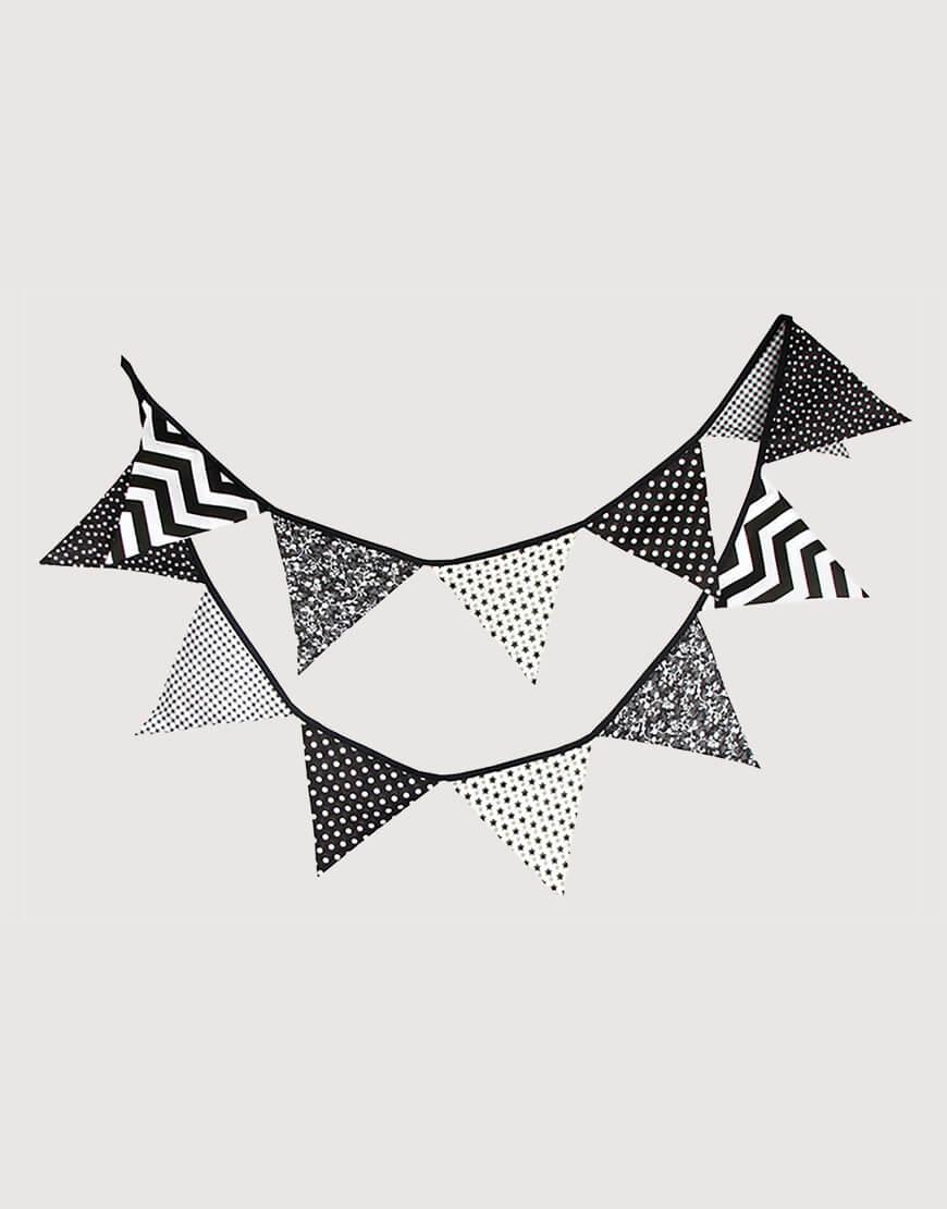 棉布   黑白   三角旗