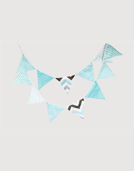 棉布 | 淡藍幾何 | 三角旗