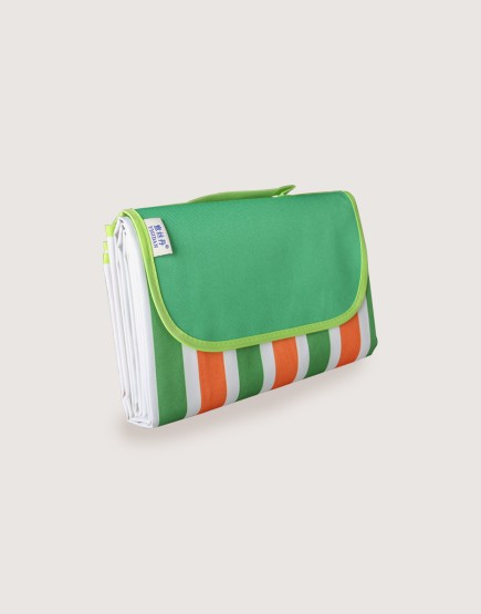 野餐墊 | 橘綠雙色條紋 | 手提式牛津布防水防潮野餐墊