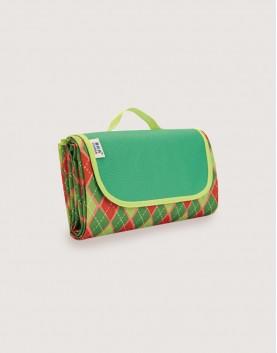 野餐墊 | 紅綠菱形格子 | 手提式牛津布防水防潮野餐墊