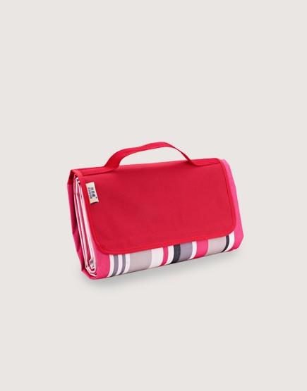野餐墊 | 桃紅條紋 | 手提式牛津布防水防潮野餐墊