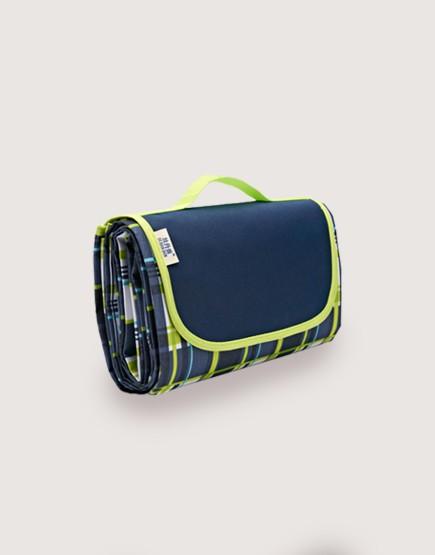 野餐墊 | 藍綠格子綠邊邊 | 手提式牛津布防水防潮野餐墊