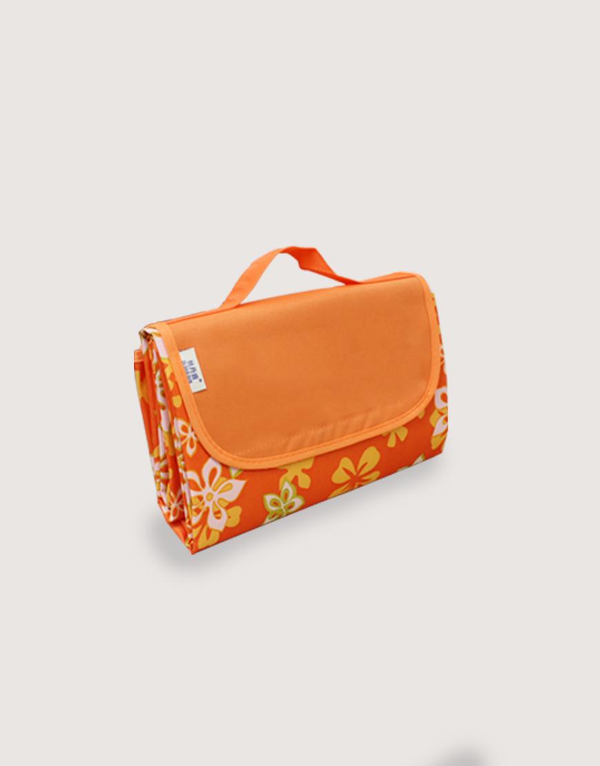 野餐墊 | 橘色花朵 | 手提式牛津布防水防潮野餐墊