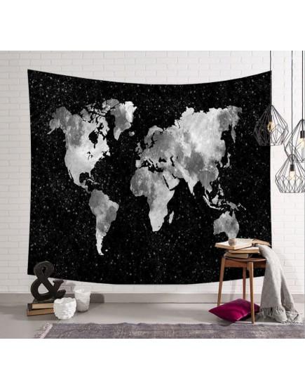 世界地圖黑掛簾