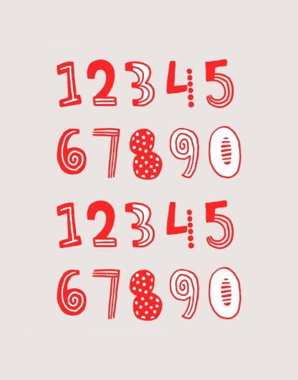 硬式貼紙 數字