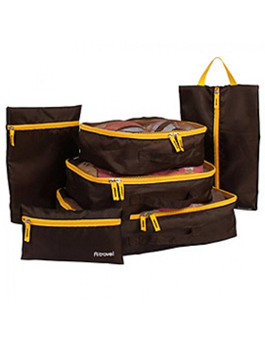 02深咖啡色6件組 旅行收納袋分類整理包