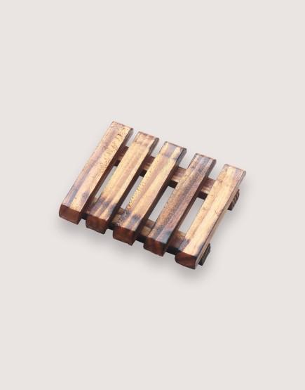 木製品 | 皂盤 | 深漆橫條圓角款