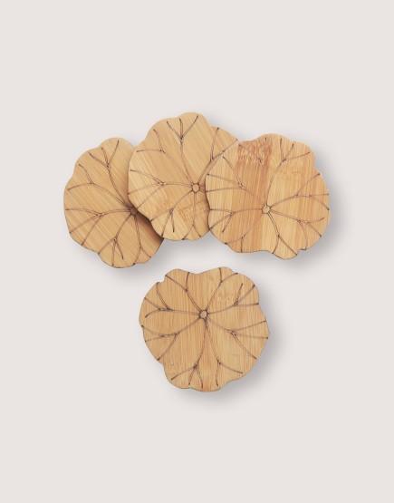 木製品 | 蓮葉雕花竹木杯墊 | 1組4入