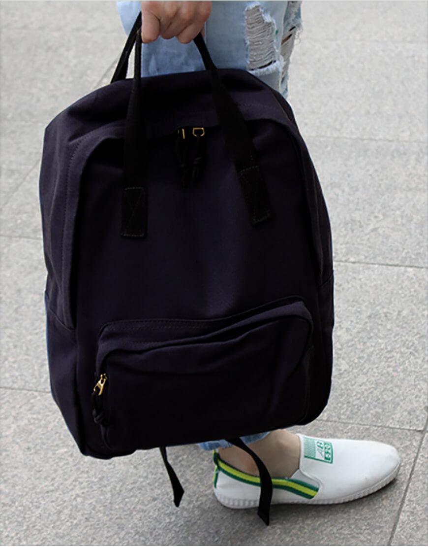 雙肩後背包 | 多色帆布 | 黑色