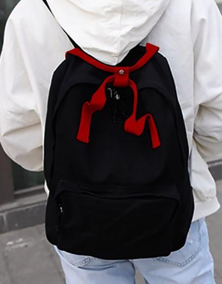 雙肩後背包 | 多色帆布 | 黑色底紅色提把