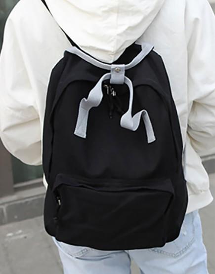 雙肩後背包 | 多色帆布 | 黑色底灰色提把