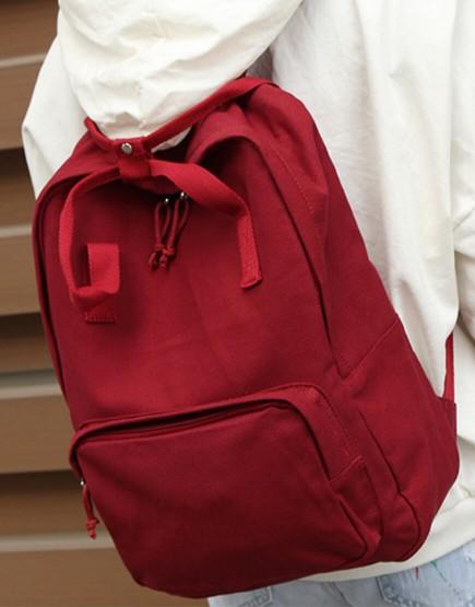雙肩後背包 | 多色帆布 | 紅色