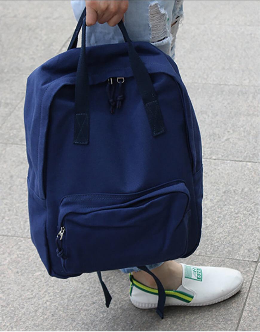 雙肩後背包 | 多色帆布 | 深藍色