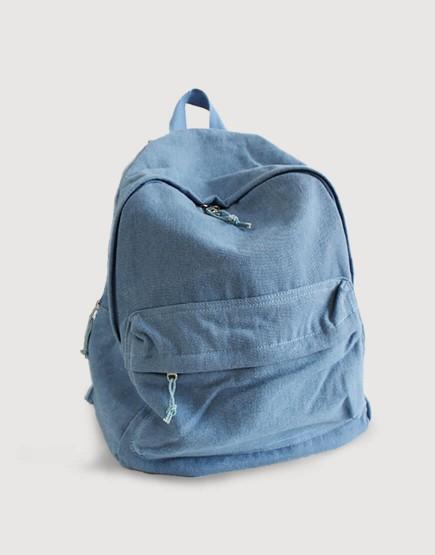 雙肩後背包 | 帆布 | 牛仔淺藍色