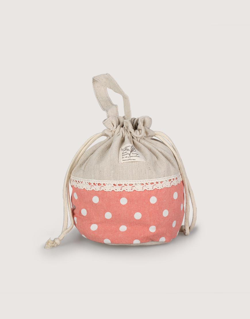 圓底束口收納袋   點點束口袋   粉紅色