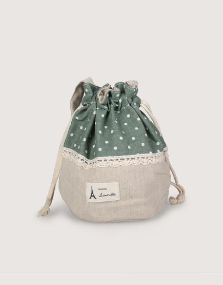 圓底束口收納袋 | 點點束口袋 | 墨綠色