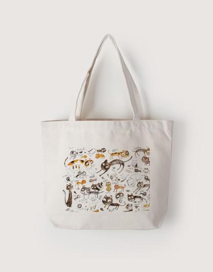 貓咪們 | 帆布橫式袋