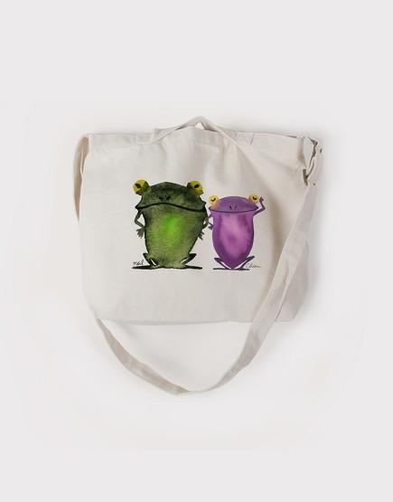 Chien x Neil  寫意青蛙 | 帆布橫式兩用袋 | 中帆布