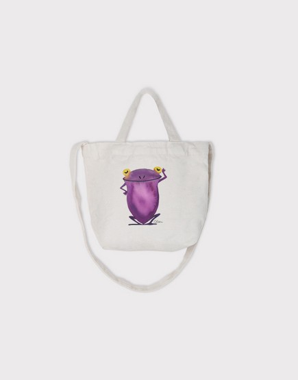 Chien x Neil 寫意青蛙 | 小朋友的兩用袋 | 帆布托特包 | 白色