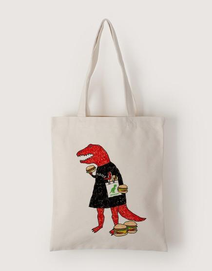 恐龍漢堡袋 | 帆布直式袋