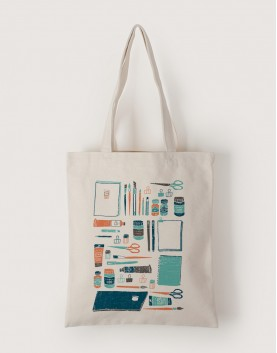 插畫家的水彩工具 | 帆布直式袋